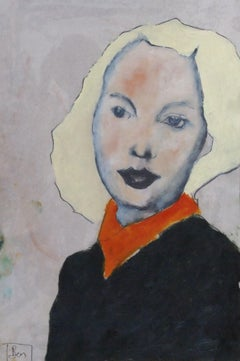 woman with blond hair, Painting, Oil on Paper
