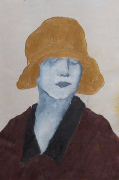 the brown hat, Painting, Oil on Paper