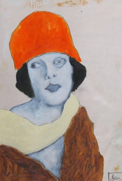 the red hat, Painting, Oil on Paper