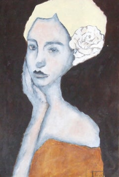 woman with flower, Painting, Oil on Paper