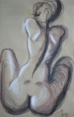 Nude Figure 4, Drawing, Charcoal on Paper