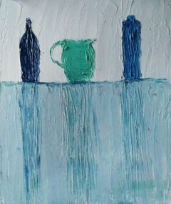 Blue Pots, Painting, Oil on Paper
