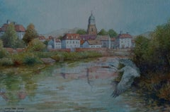 Upton upon Severn.The Heron., Painting, Watercolor on Watercolor Paper
