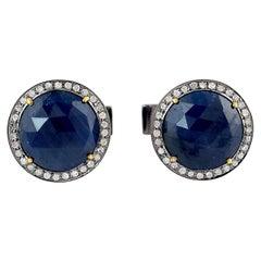 12.34 Carat Blue Sapphire Diamond Cufflinks