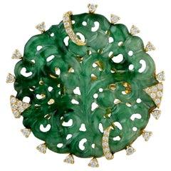 12.34 Carat Carved Jade 18 Karat Gold Diamond Ring