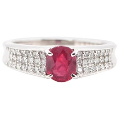 1.235 Carat No Heat Ruby and Diamond Band Ring Set in Platinum