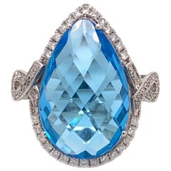 12.36 Carat Sky Blue Topaz Cocktail Ring