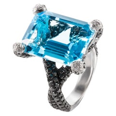 12.38 Carat Emerald-Cut Blue Topaz Black White Diamond 18KW Gold Cocktail Ring