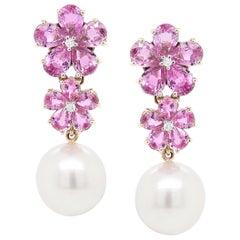 12.38 Carat Pink Sapphire Pearl Diamond 18 Karat White Gold Dangle Earring
