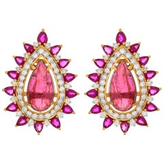12.39 Carat Rubellite Diamond and Ruby 18 Karat Yellow Gold Stud Earrings