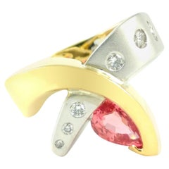 1.23ct Padparadscha Sapphire and Diamond Contemporary Cornelis Hollander Ring