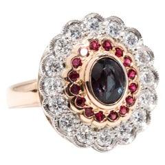 1.24 Carat Alexandrite and Red Spinel and Diamond 18 Carat Gold Cocktail Ring