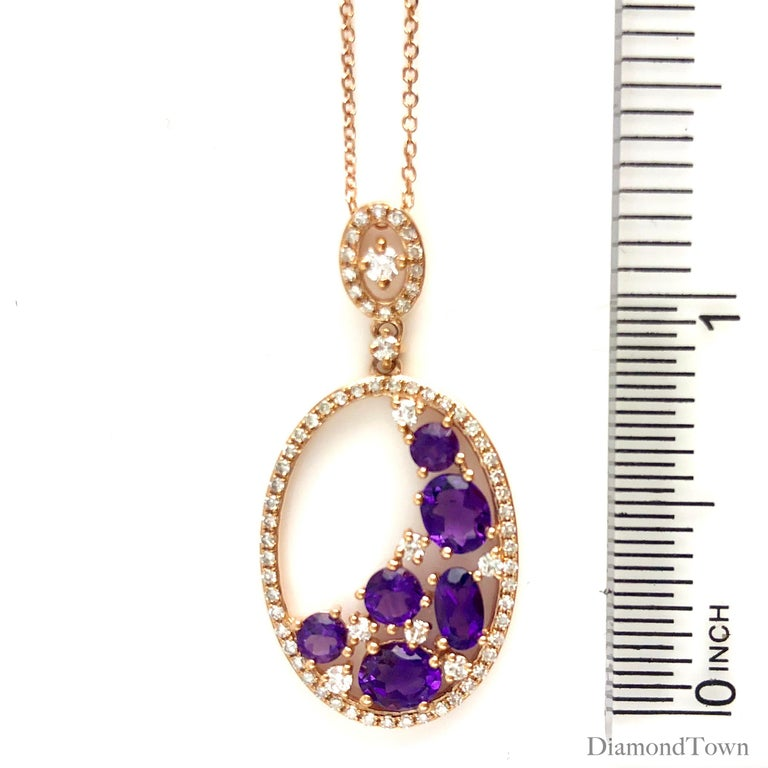 1.24 Carat Amethyst and 0.36 Carat Diamond Fashion Pendant in 14 Karat Rose Gold In New Condition For Sale In New York, NY