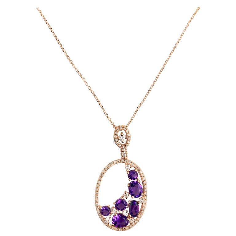 1.24 Carat Amethyst and 0.36 Carat Diamond Fashion Pendant in 14 Karat Rose Gold For Sale