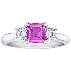 1.24 Carat Asscher Cut Pink Sapphire and Diamond Platinum Ring
