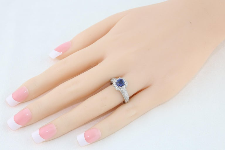 Contemporary 1.24 Carat Blue Sapphire Diamond Gold Milgrain Filigree Ring For Sale