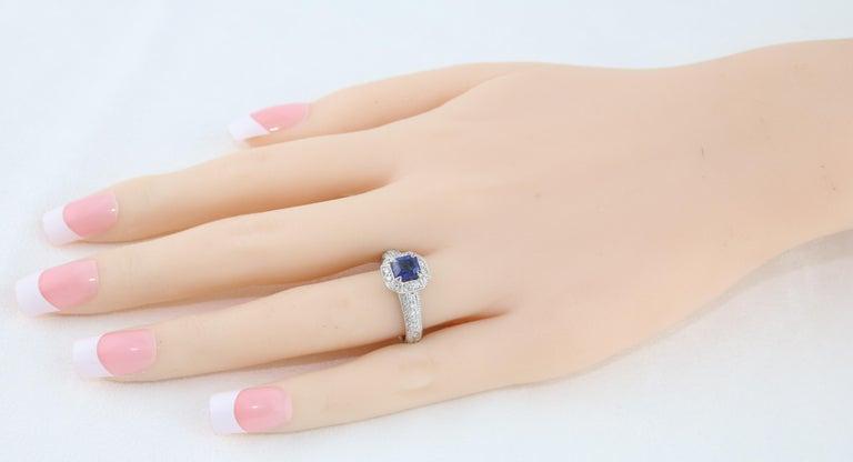 Emerald Cut 1.24 Carat Blue Sapphire Diamond Gold Milgrain Filigree Ring For Sale