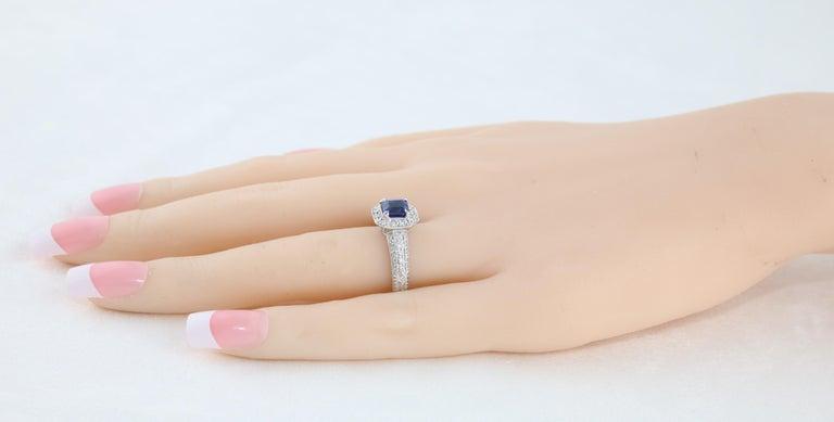 1.24 Carat Blue Sapphire Diamond Gold Milgrain Filigree Ring In New Condition For Sale In New York, NY