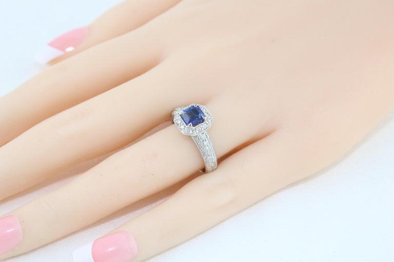 Women's 1.24 Carat Blue Sapphire Diamond Gold Milgrain Filigree Ring For Sale