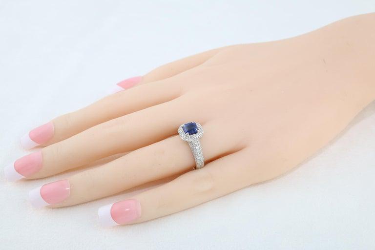 1.24 Carat Blue Sapphire Diamond Gold Milgrain Filigree Ring For Sale 1