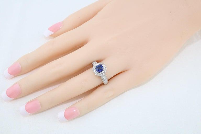1.24 Carat Blue Sapphire Diamond Gold Milgrain Filigree Ring For Sale 2