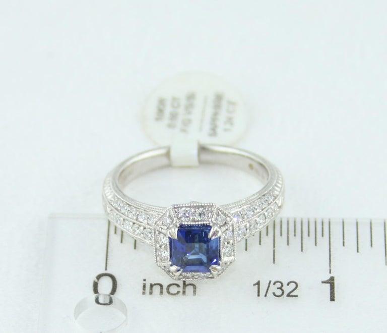 1.24 Carat Blue Sapphire Diamond Gold Milgrain Filigree Ring For Sale 3