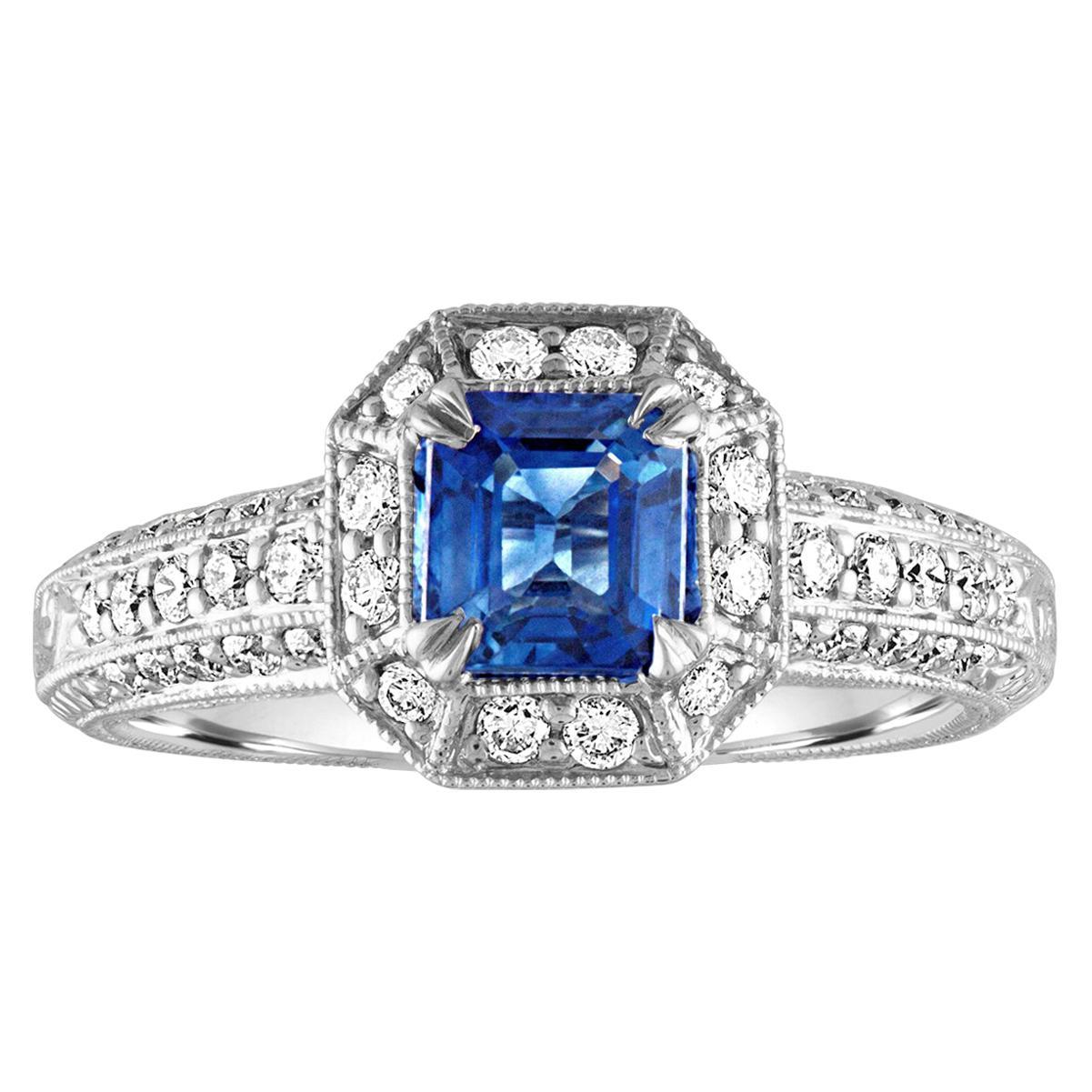 1.24 Carat Blue Sapphire Diamond Gold Milgrain Filigree Ring