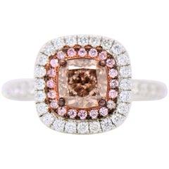 1.24 Carat Natural Fancy Orange-Brown Diamond Engagement Ring in Two-Tone