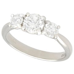 1.24 Carat Diamond and Platinum Three-Stone Ring