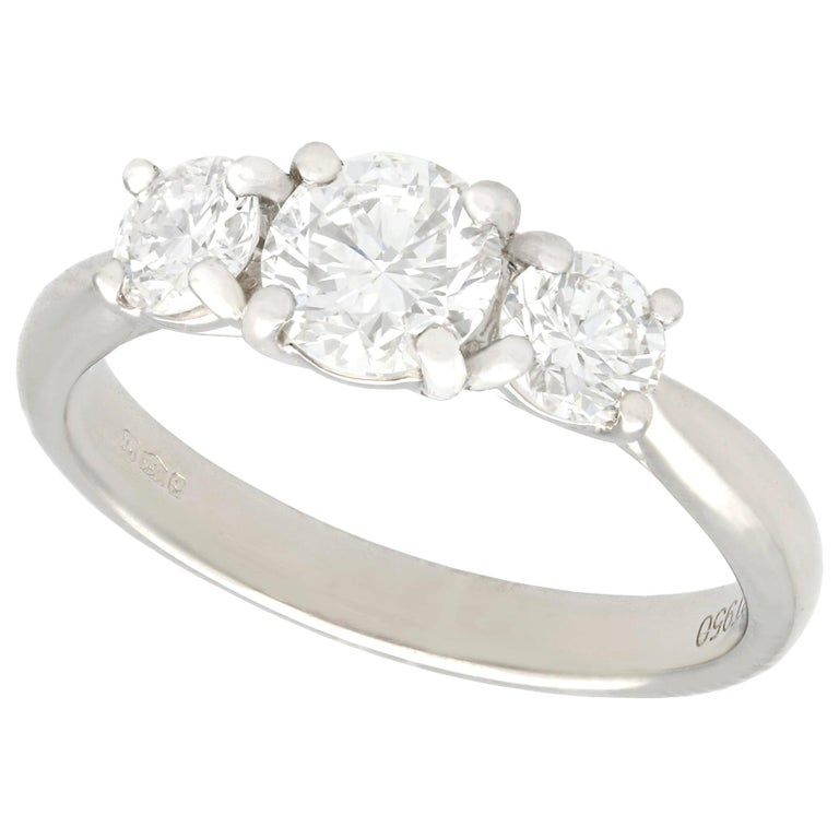 1.24 Carat Diamond and Platinum Three-Stone Ring For Sale