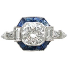 1.24 Carat Diamond and Sapphire Platinum Engagement Ring