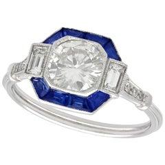 1.24 Carat Diamond and Sapphire Platinum Engagement Ring