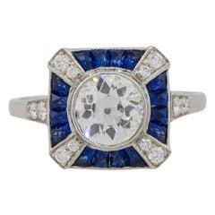 1.24 Carat Diamond Bezel Set Center Ring with Sapphire Stones Platinum in Stock