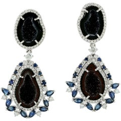 12.4 Carat Geode Blue Sapphire Diamond Earrings