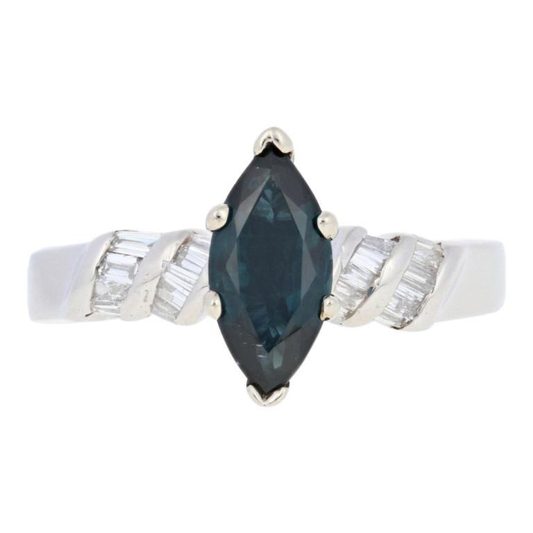 1.24 Carat Marquise Brilliant Cut Sapphire and Diamond Ring, 900 Platinum