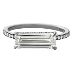 Eva Fehren 1.24 Carat Matrix Baguette Ring in Blackened Platinum