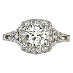 1.24 Carat Old European Cut Diamond Engagement Ring