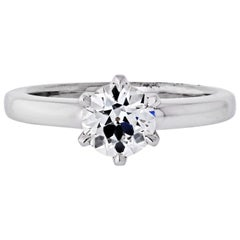 1.24 Carat Old European Cut Diamond J/VS1 GIA Solitaire Engagement Ring
