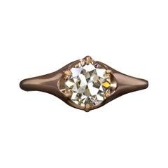 1.24 Carat Old European Cut Diamond Ring