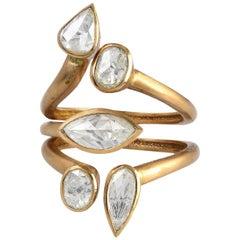1.24 Carat Rosecut Diamond Milan Between the Finger Ring