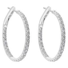 1.24 Carat Round Diamond Hoop Earrings in 18 Karat White Gold