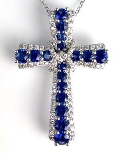 1.24 Carat Vivid Blue Sapphire and Diamond Embellished Cross Pendant