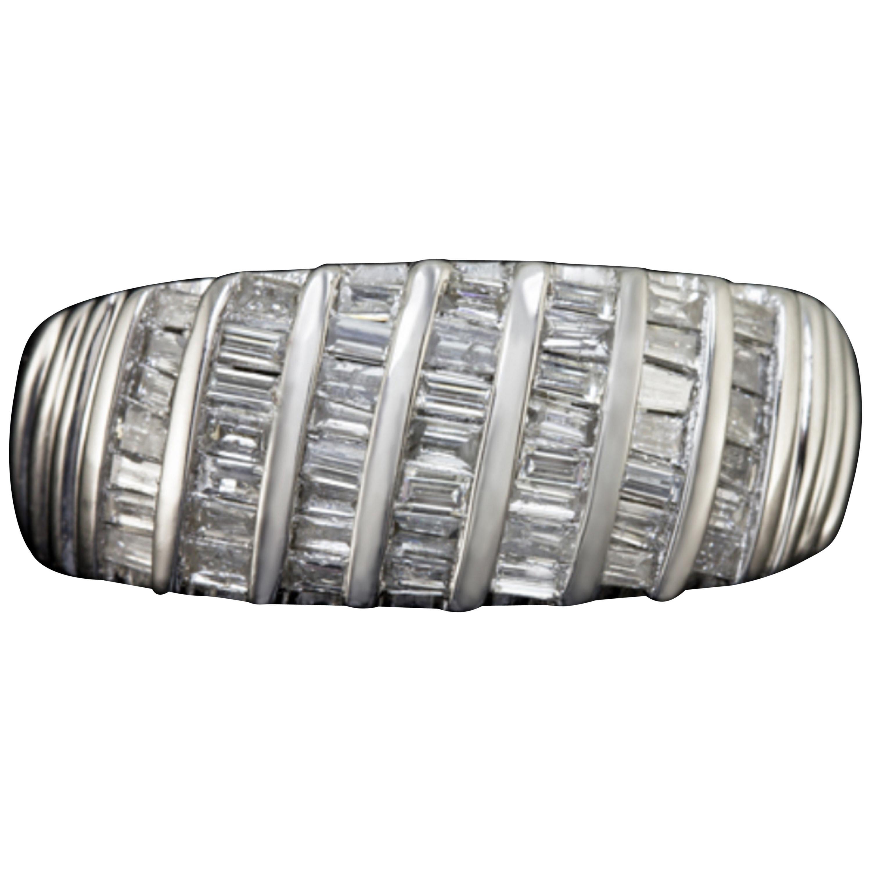 1.24 Carat White Baguette Diamond Band Ring
