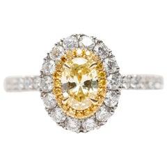 1.24 Carat Yellow White Oval Platinum Diamond Double Halo Tresor Engagement Ring