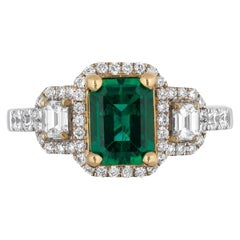 1.24 Carat Zambian Emerald Diamond Cocktail Ring