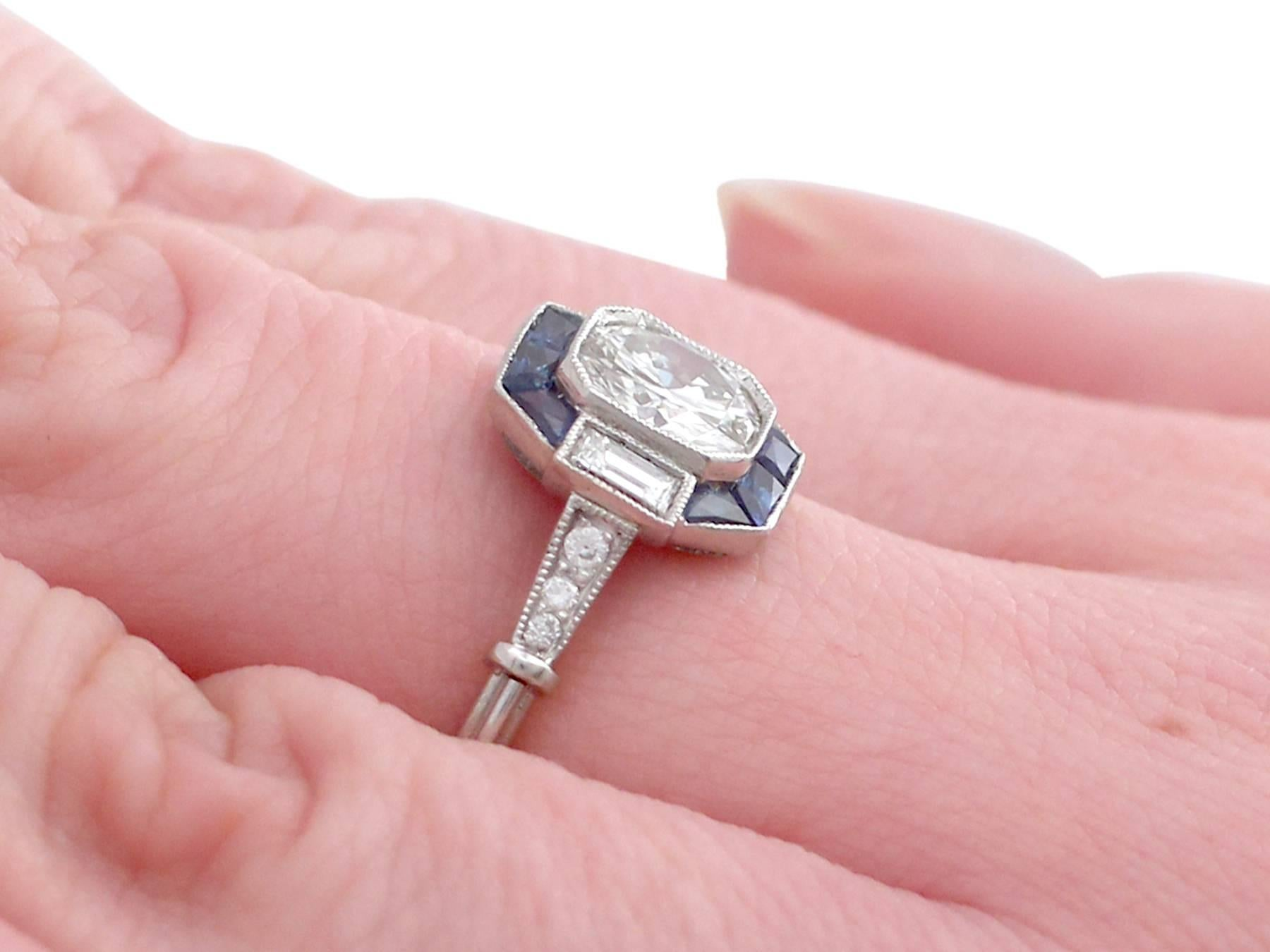 1.24 Carat Diamond and Sapphire Platinum Engagement Ring For Sale at ...