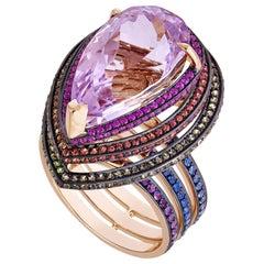 12.40 Carat Kunzite Rainbow Spiral Ring with Sapphires, Tsavorite, Amethyst