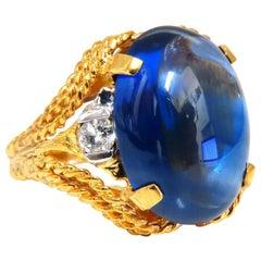 12.40 Carat Lab Sapphire Diamonds Ring 14 Karat