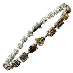 12.40 Carat Mix Shape Colored Diamond Tennis Bracelet