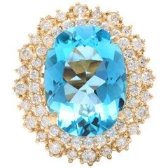 12.40 Carat Natural Impressive Swiss Blue Topaz and Diamond 14 Karat Gold Ring